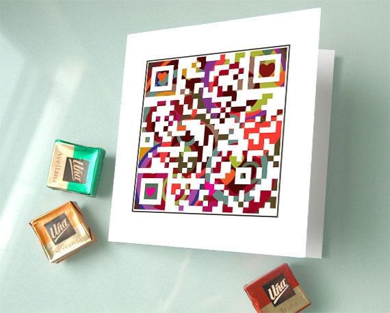 Valentine Card Love Card Wedding Invitation Card QR Code Art