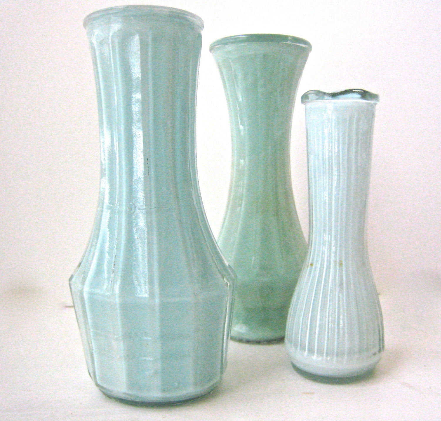 Vintage Aqua Colored Painted Vases - Soft Aqua Shabby Chic Shades of Teal Set of 3 - RetroJunky