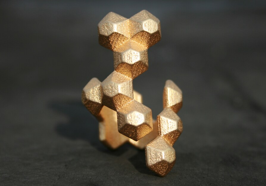 POPULATE - Yellow gold modern geometric 3D printed ring - ButterscotchofBK