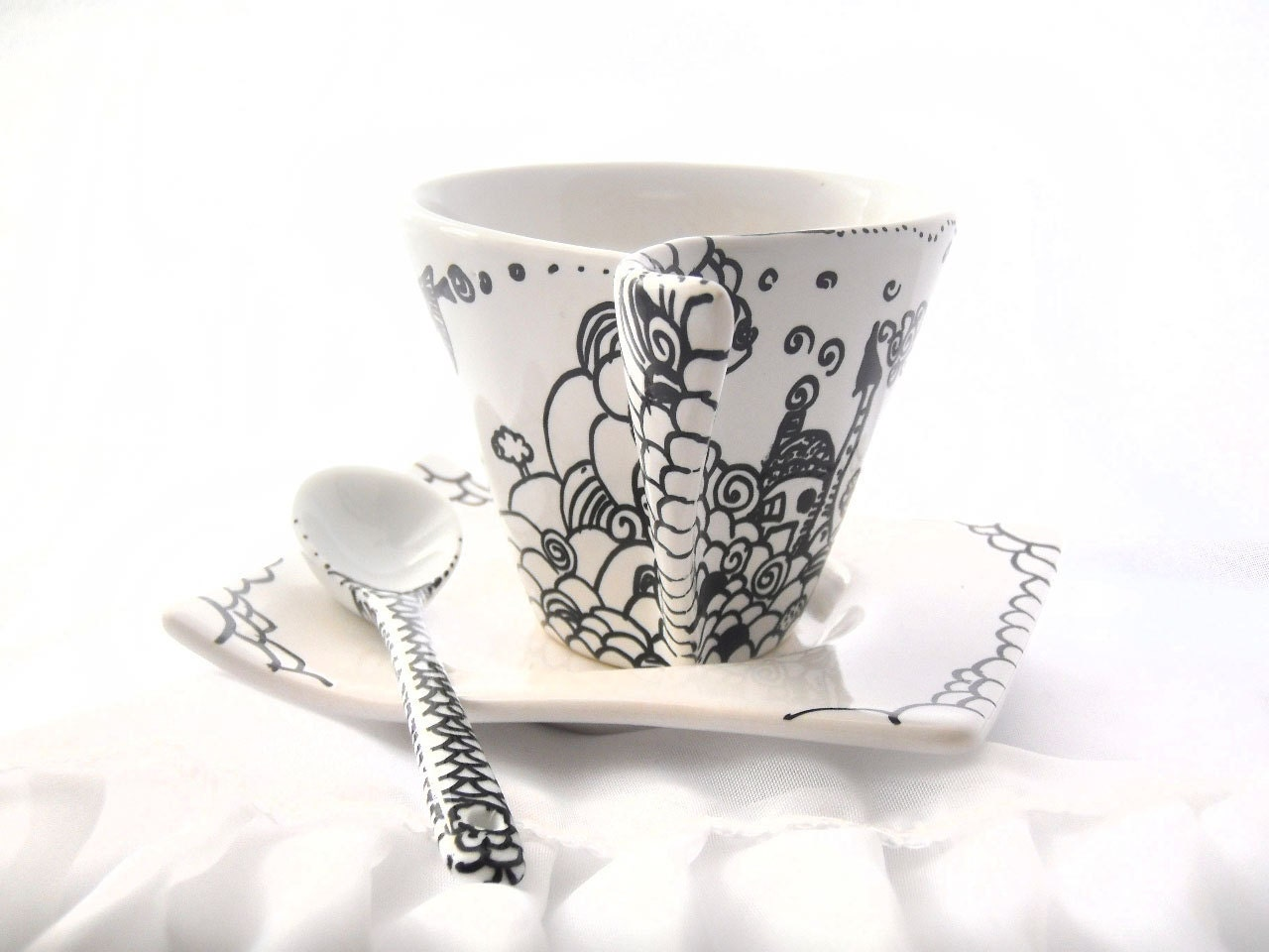 Hand painted Espresso coffee cup asymmetric with illustration of Cute Santa home, Santa's village