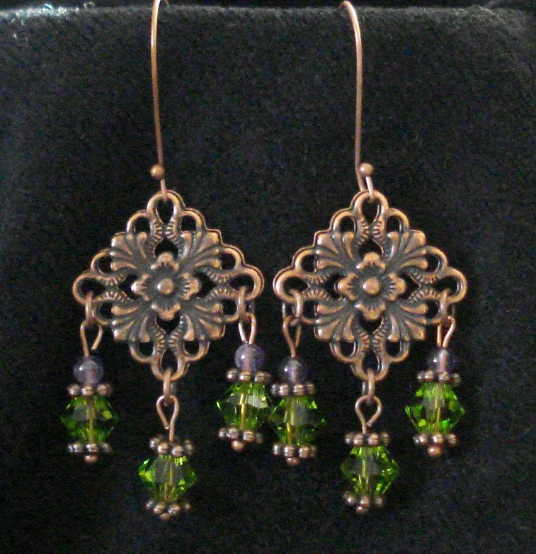 Chandelier Earrings Copper and Beads
