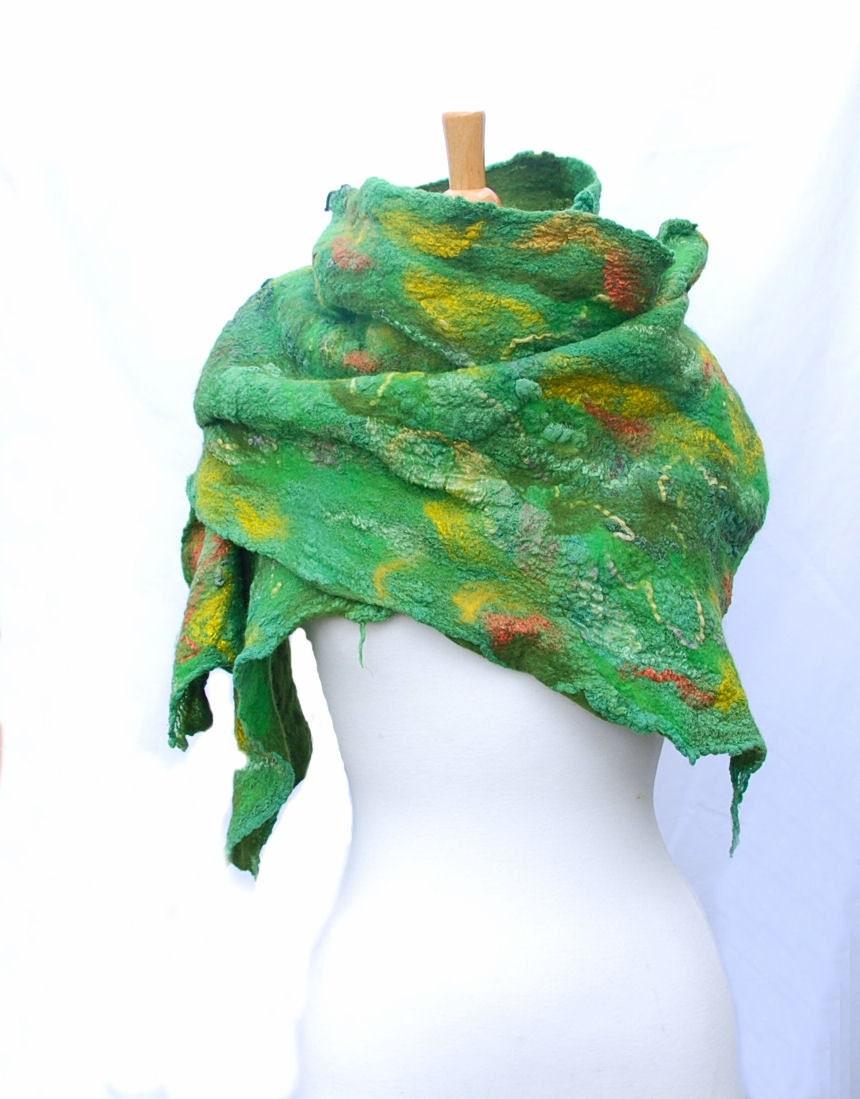 Nunofelt scarf   felted  felt scarf merino wool nuno felt   yellow green   felted art - AnnaWegg