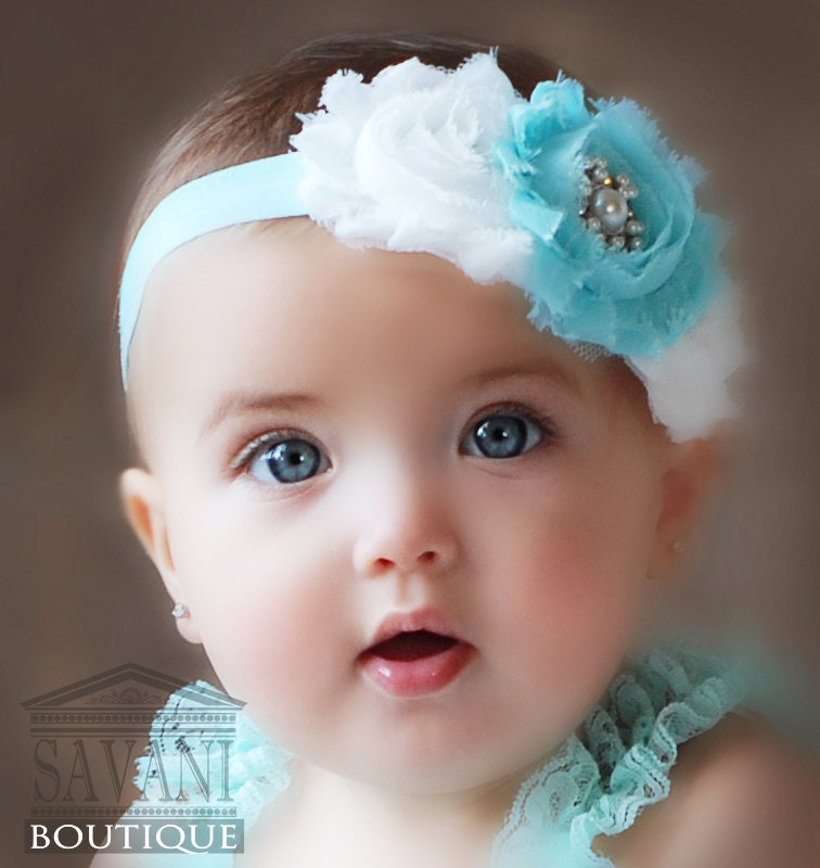 Aqua and white Baby headband, vintage headband, shabby chic roses headband, baby hair accessories - SAVANIboutique