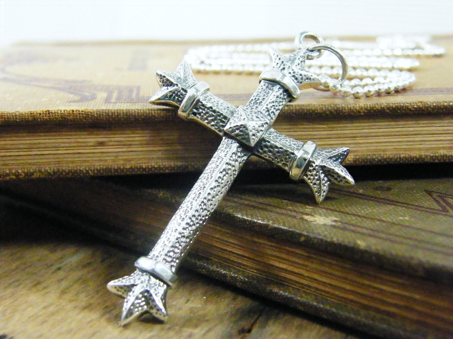 extra large sterling silver ornate cross necklace - PureRoxFaith