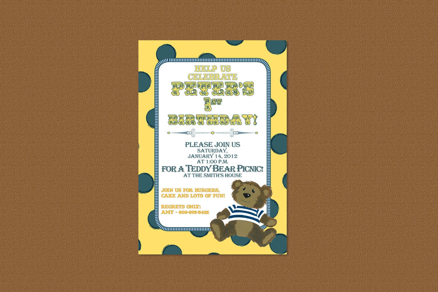 Teddy Bear birthday invitations