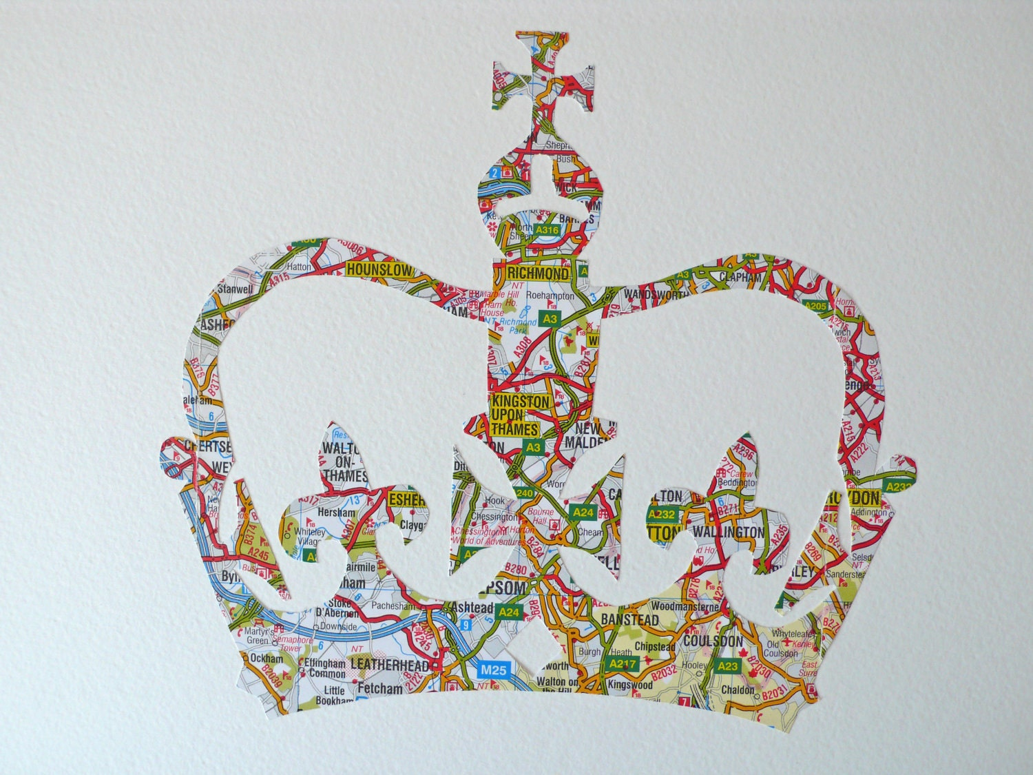 Crowning Glory for Queen Elizabeths 60 years on the throne - Made in Britain from a vintage map - SewPaperArt