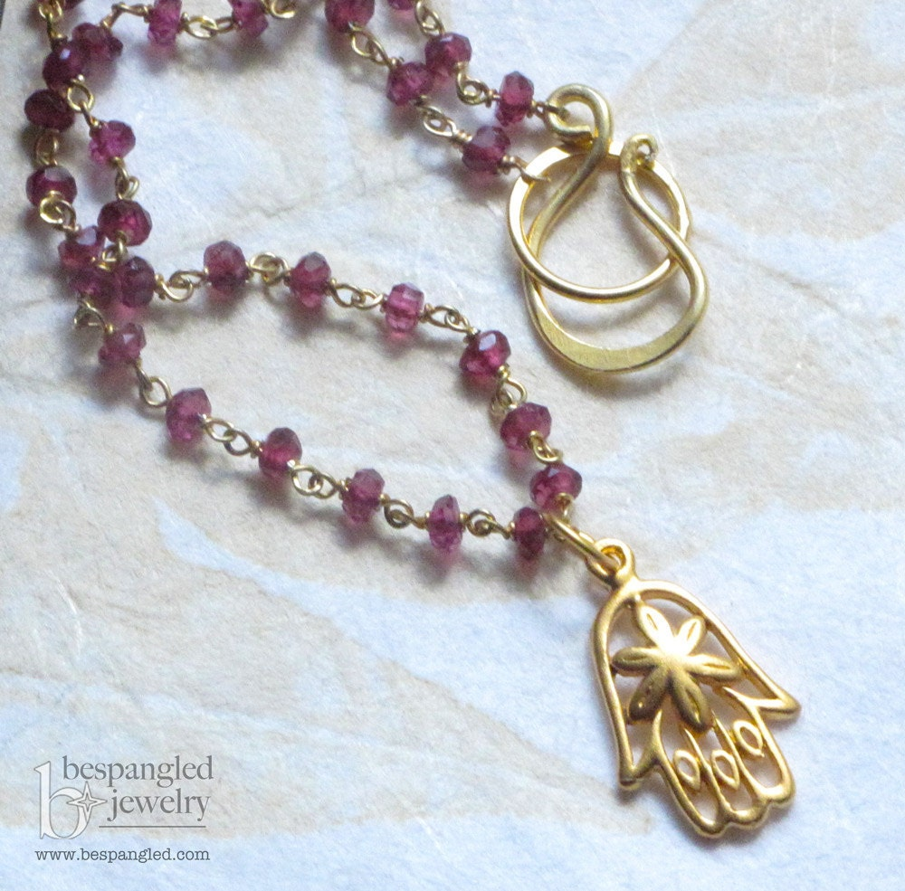 Gilded Hamsa Garnet Rosary Style Necklace by BespangledJewelry on Etsy