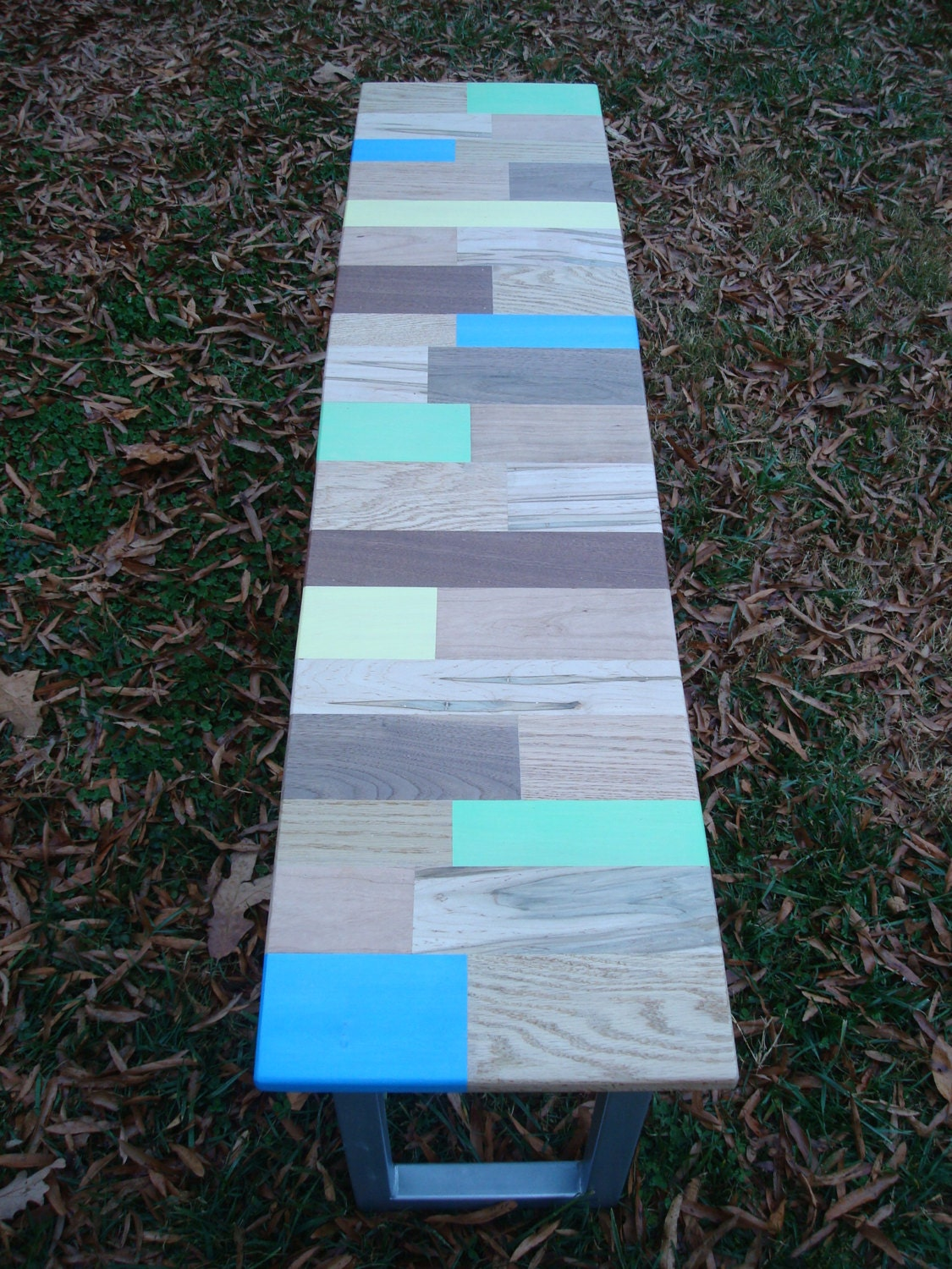 Reclaimed Wood Painted Bench. Full resolution  snapshot, nominally Width 1125 Height 1500 pixels, snapshot with #0184CA.
