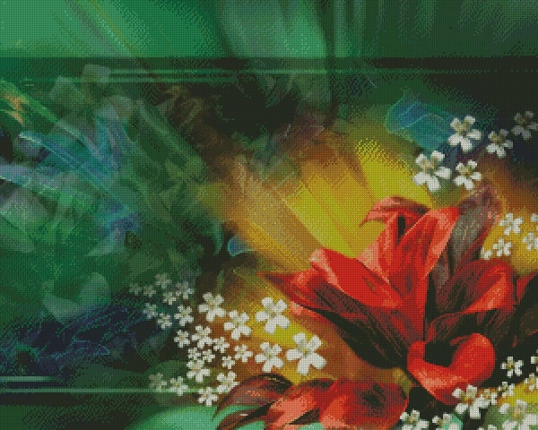Cross Stitch Pattern: Abstract Lillies - PDF DOWNLOAD