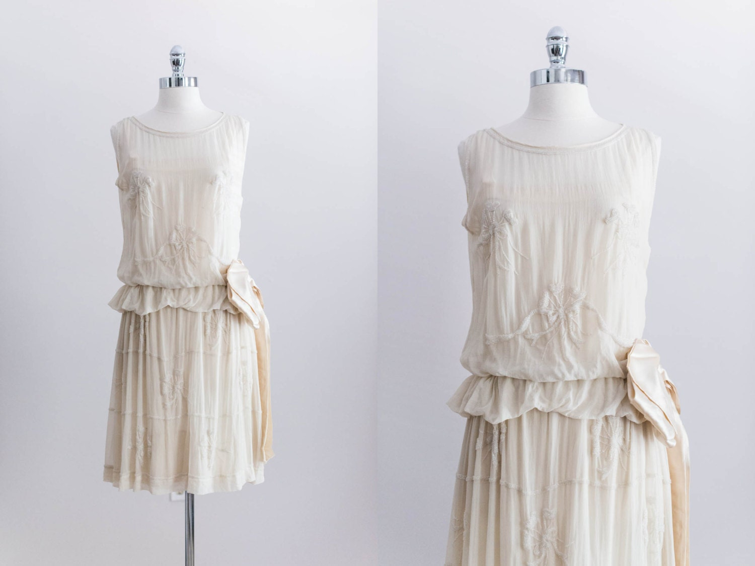 NEW LISTING 1920s Cream Beaded Flapper Wedding Dress