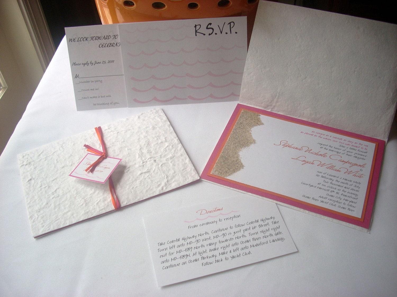 FIRST SAND INVITATION on Etsy - Pink & Orange Beach Sand Wedding Invitation Sample - invitesbythisandthat