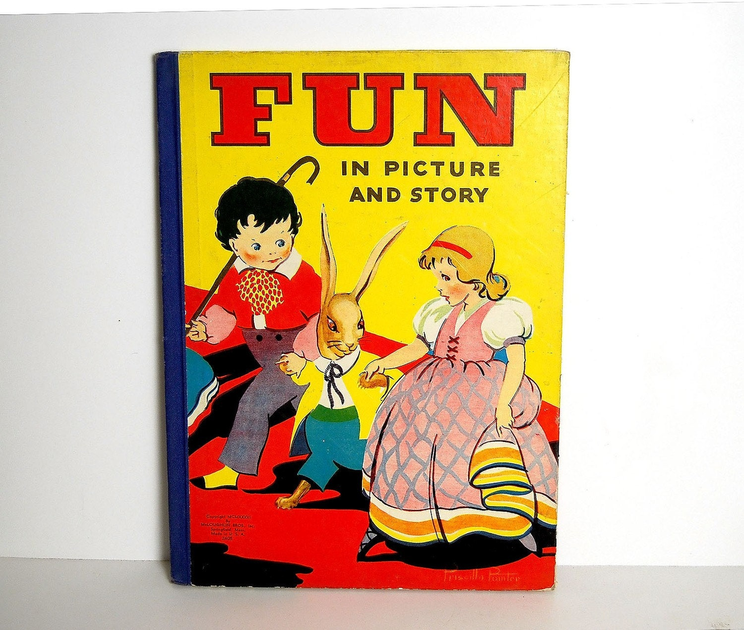 FUN in PICTURE and STORY...vintage 1956 giant story book - trucksanddolls