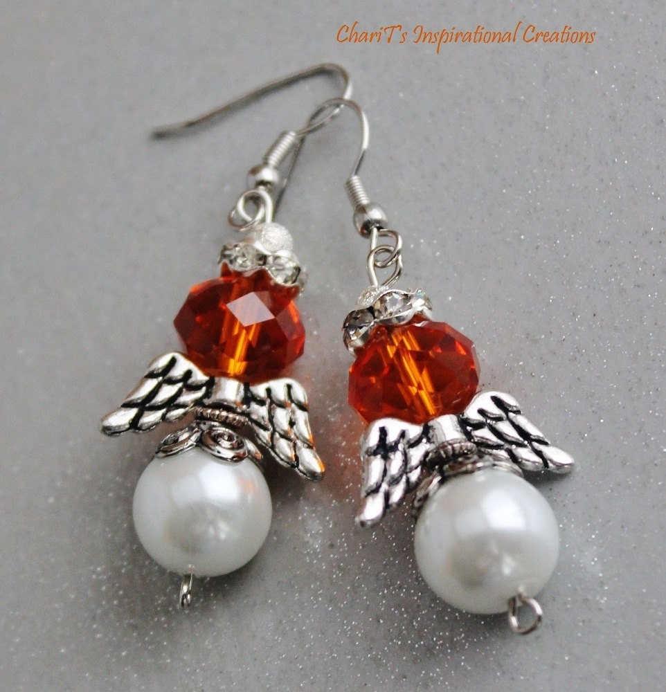 Orange Cause Awareness Angel Earrings