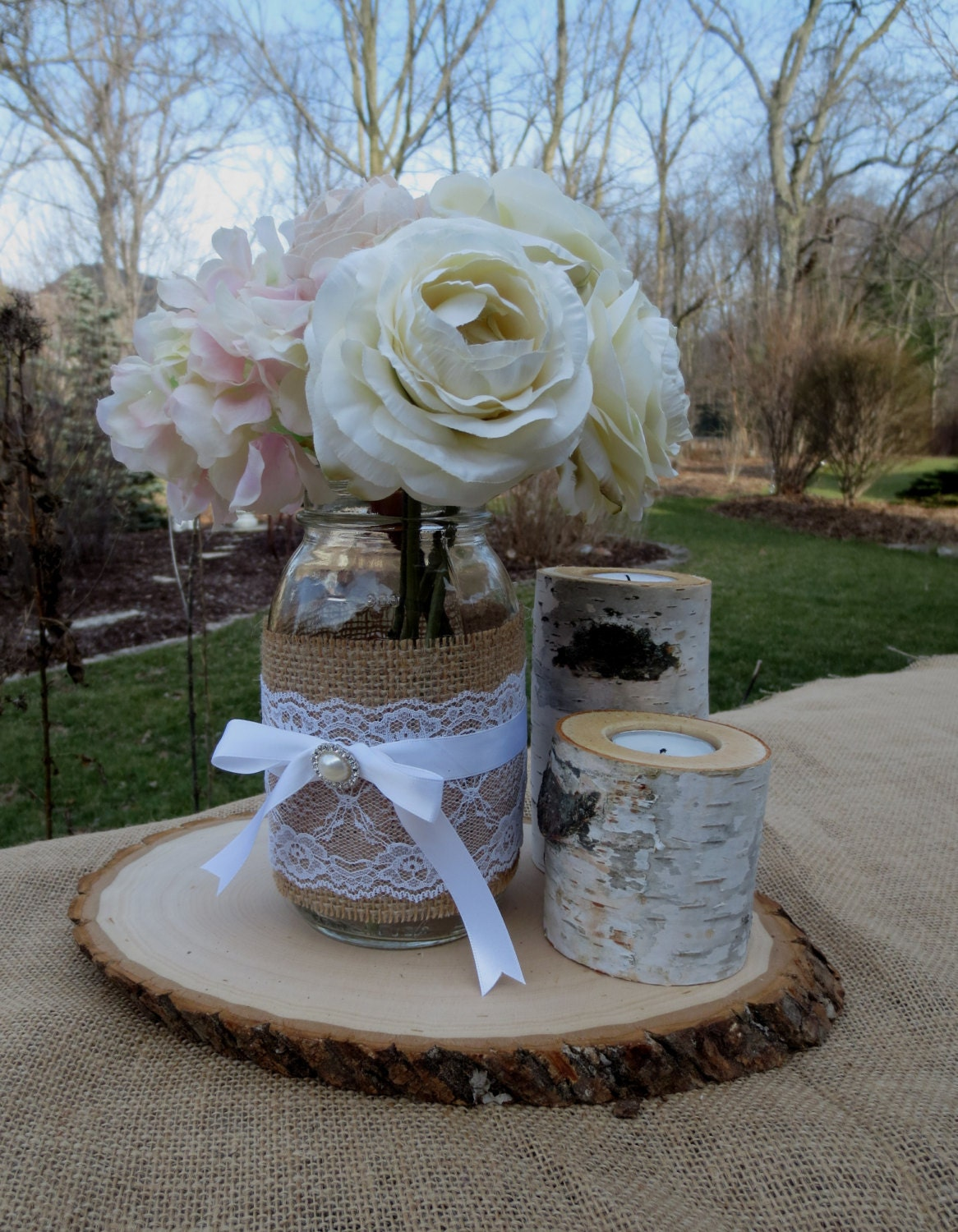 Mason jar wedding decoration ideas  A Pretty Pair Mason Jar Wedding Centerpiece Any  by BeachBlues