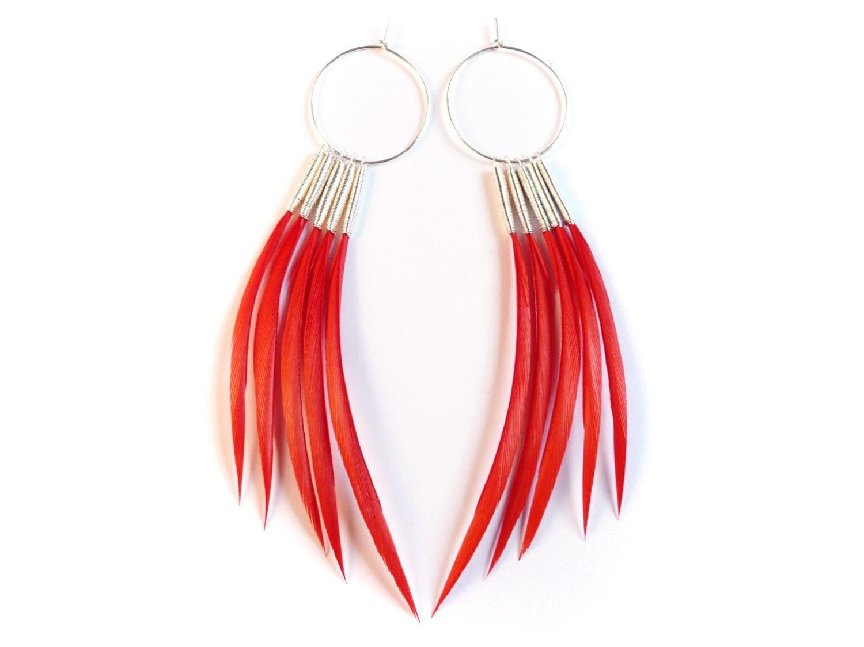 Bold Red Feather Earrings in Interchangeable Hoop Design - Stilltreejewellery