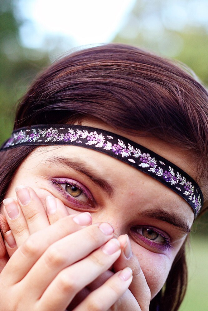Black Silver and Purple Flower Forehead Band