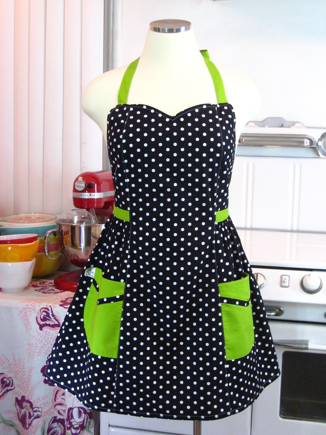 The BETTY - Plus Size Apron - Black and White Polka Dot with Lime Green