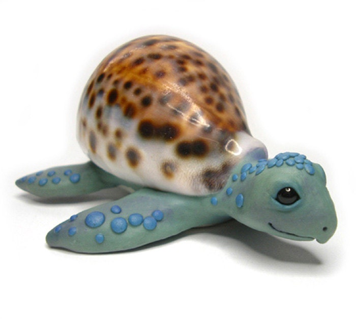 Sea Turtle Sculpture with Real Seashell - Quirkydismal