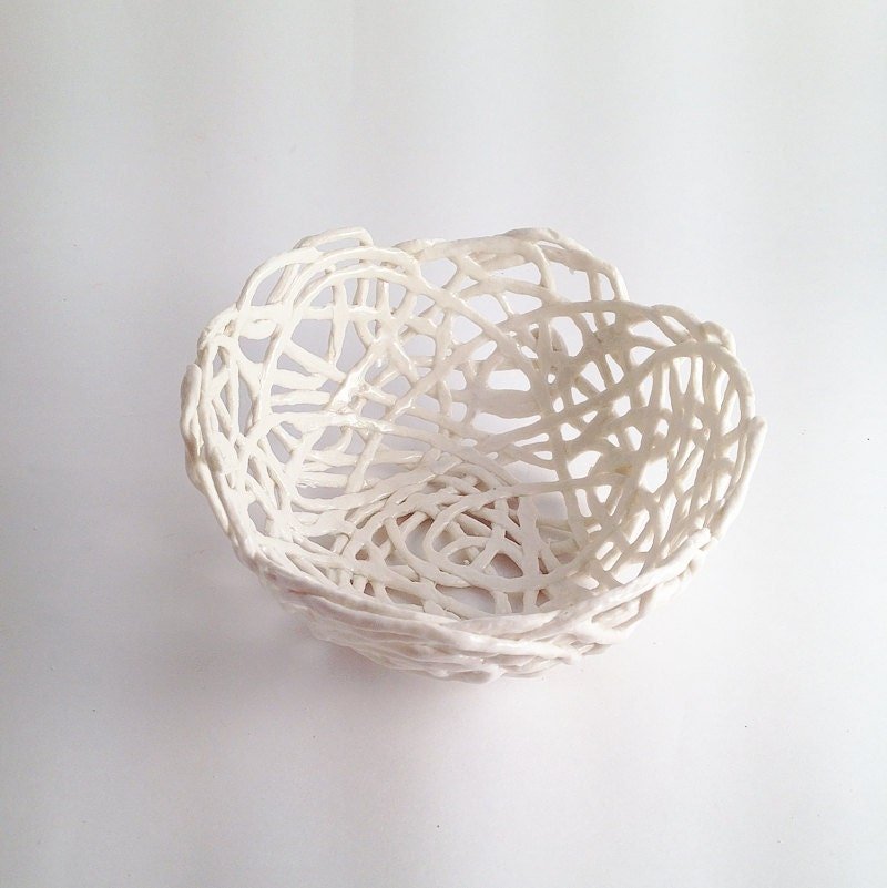 Porcelain Paperclay Filigree Bowl in white - Porcelain paperclay - lofficina
