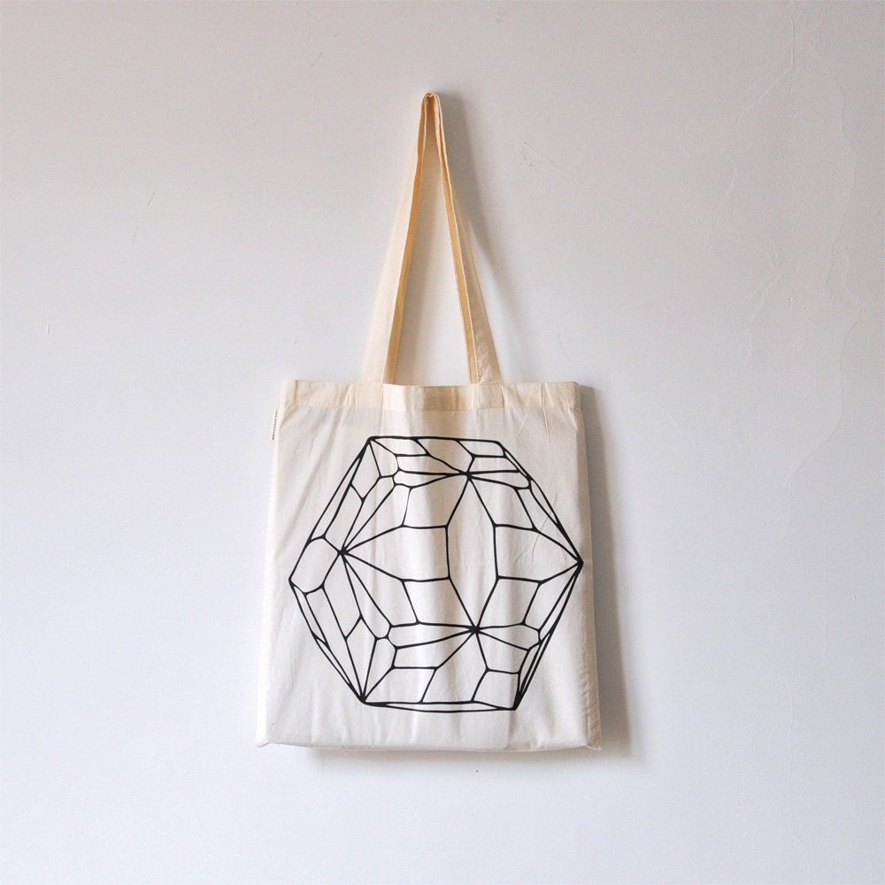 Hexagon / Organic cotton tote bag / Screen printed