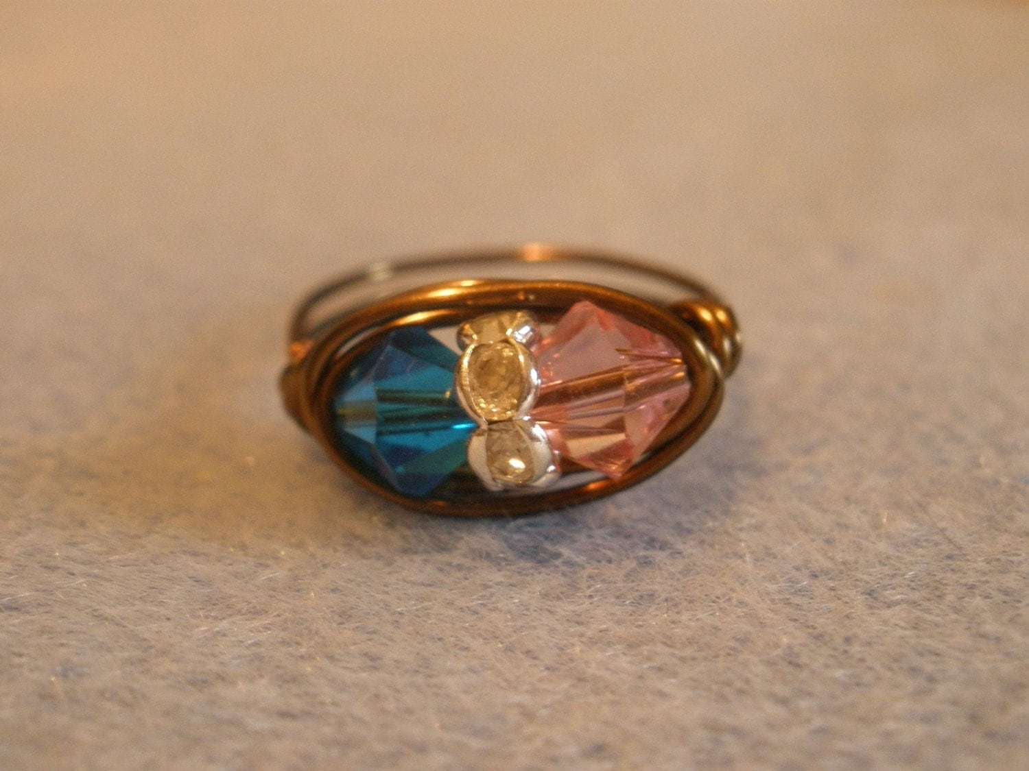 Delta Gamma Hand Wrapped Ring in Pink, Blue, and Bronze