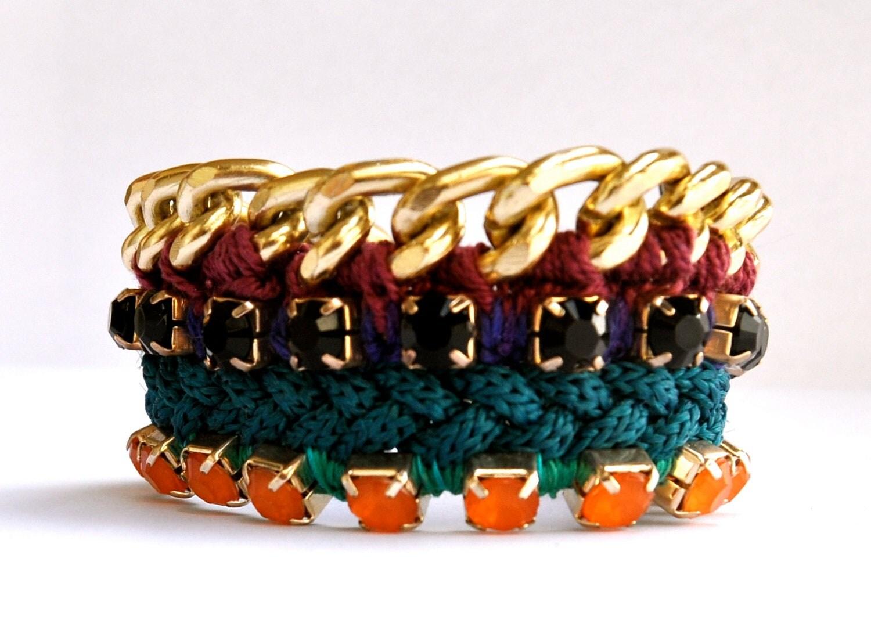 Friendship maxi bracelet - arm party bracelet, petroleum blue color, gold colored chain, thread crochet work, twisted silk cord.