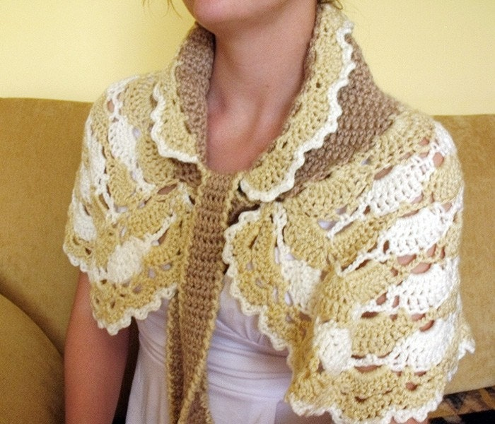 Crochet capelet cowl stole bolero shawl lace white ivory beige Victorian