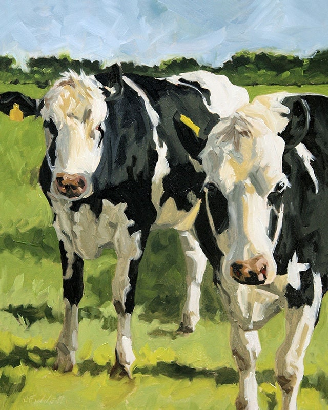 "Cow painting, giclee on canvas print with gallery wrap, 16x20, from an original animal art oil painting, ""Out Standing"" - FinnellFineArt"
