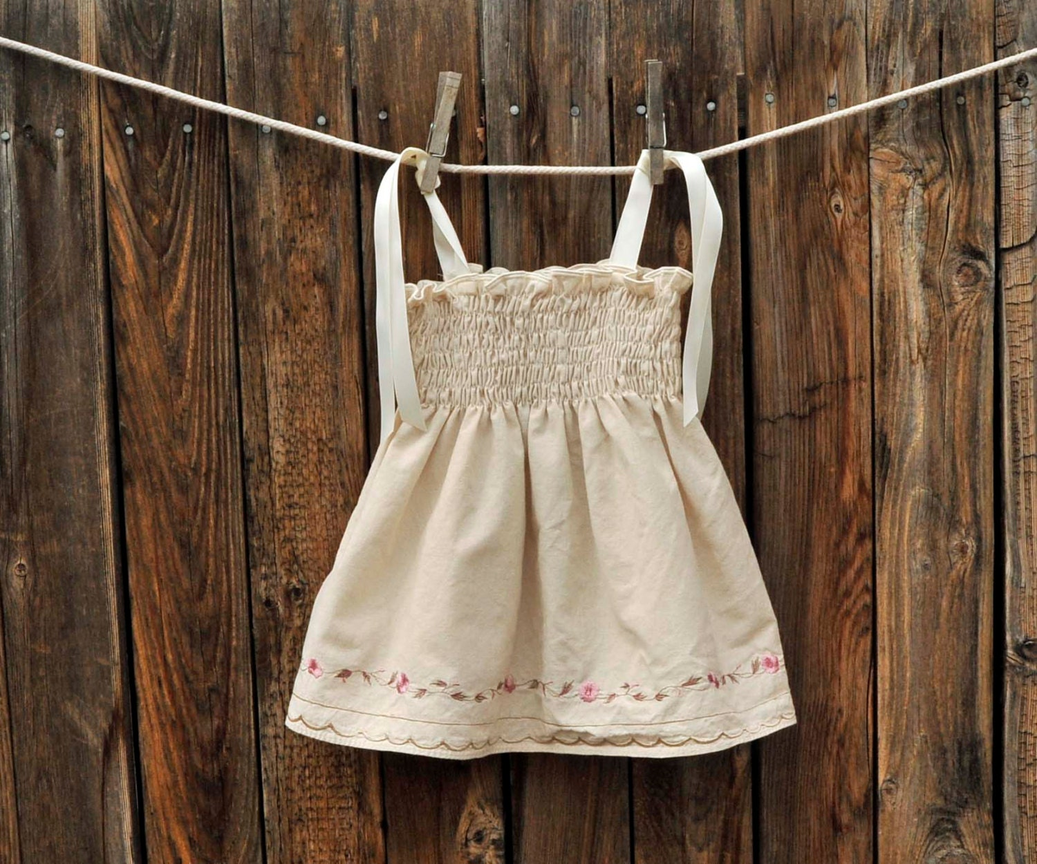 Embroidered Baby Dress, Cream and Pink Vintage dress ribbon ties, Great for beach weddings, portraits... 3m,6m,9m,12m,18m - SageNThymeDesigns