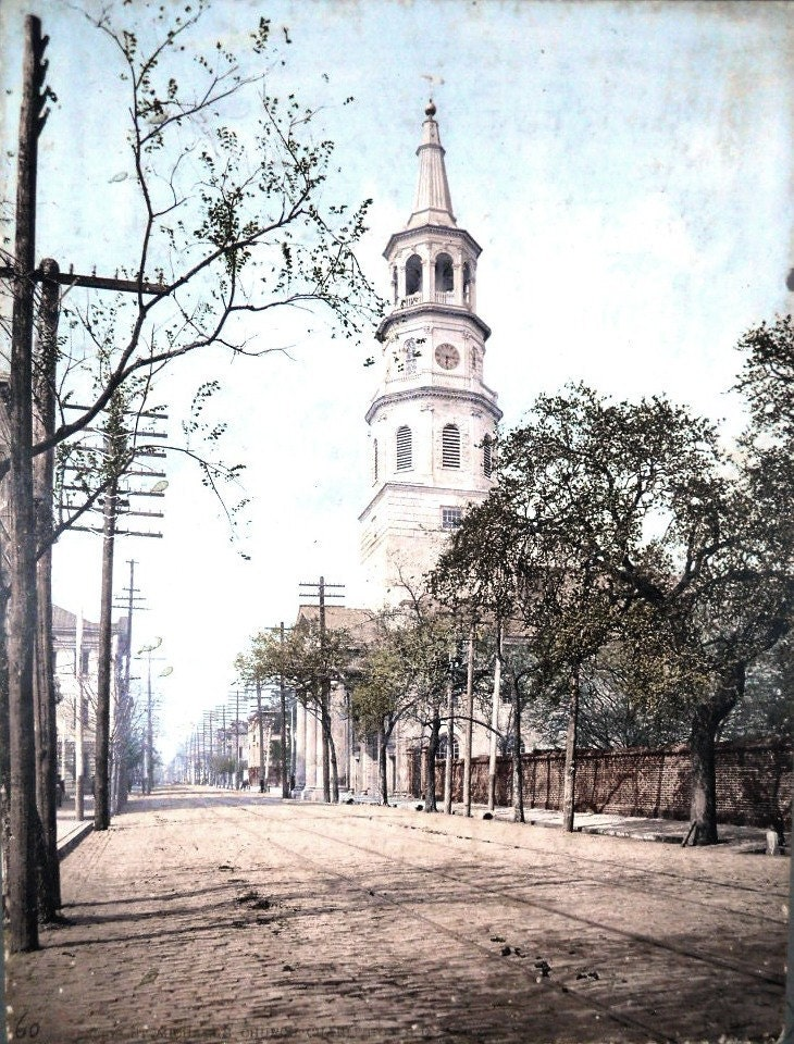 American Landscapes. St. Michael's Church, Charleston, SC, by William Henry Jackson. (Attrib.) 1901. - vintagephotosjohnson