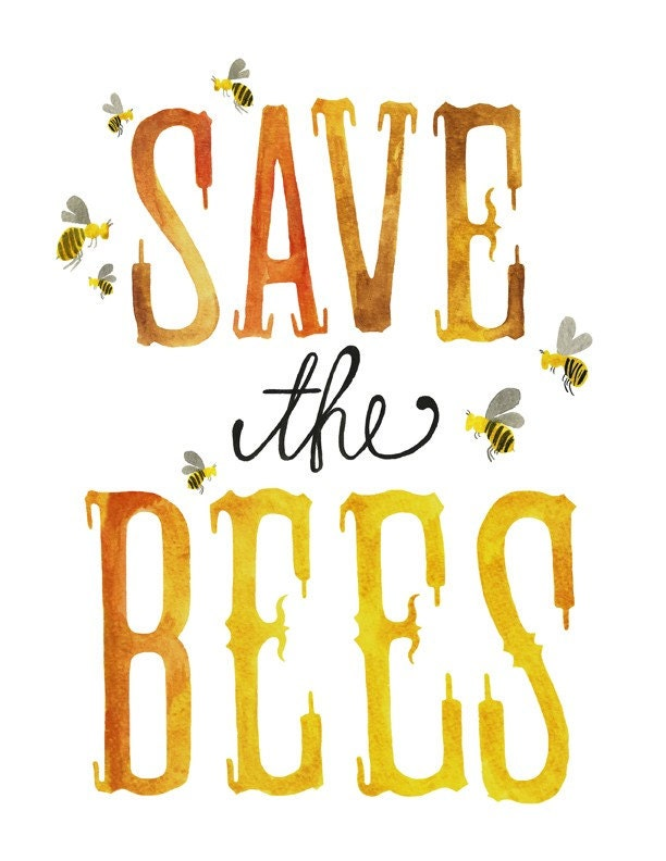 5x7 - Save the Bees Print - poppyandpinecone