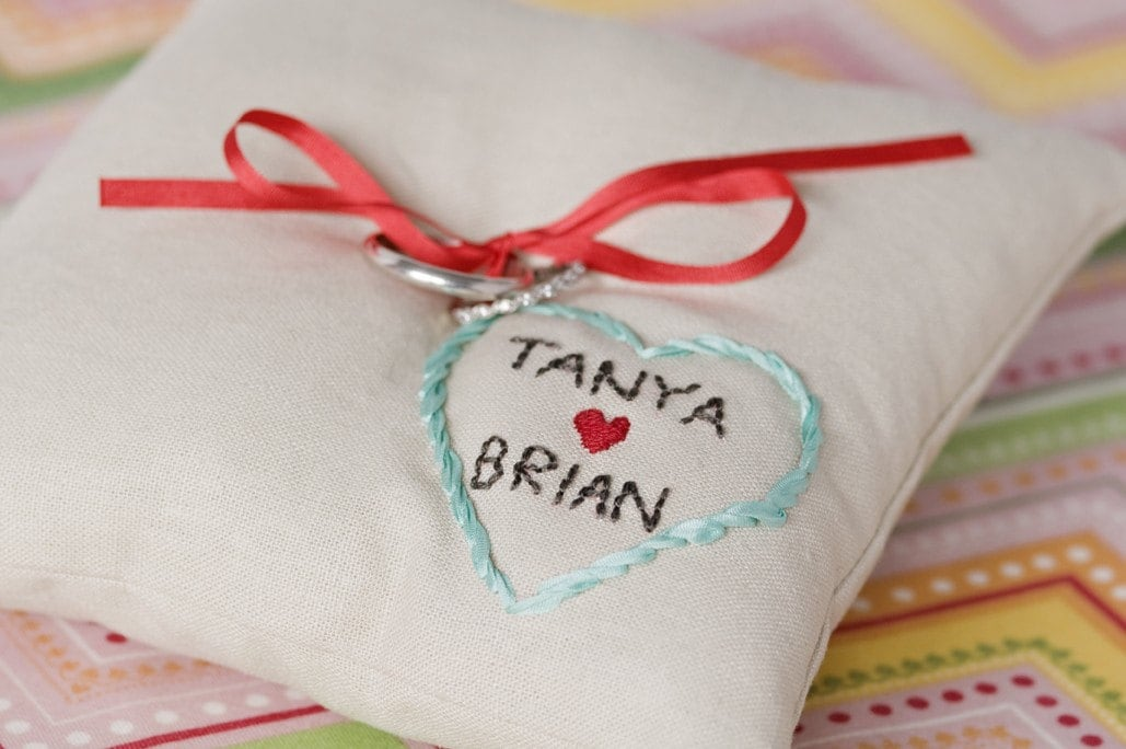 CUSTOM ring pillow with couple's names inside embroidered heart