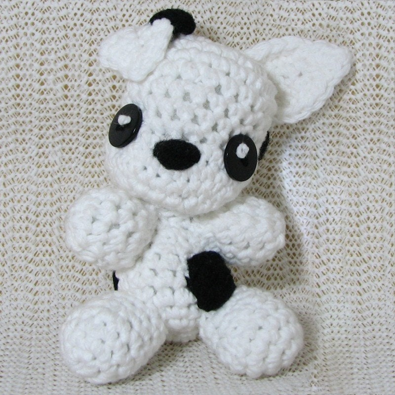 Handmade Amigurumi Chibi Black and White Pitbull                   Puppy