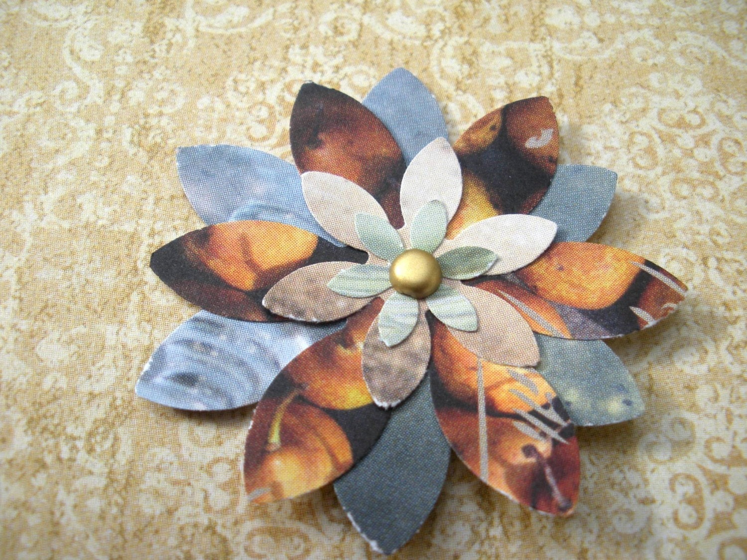 Eco-friendly paper flower embellishments - set of 8 SMALL flowers -  - style 'Milly'