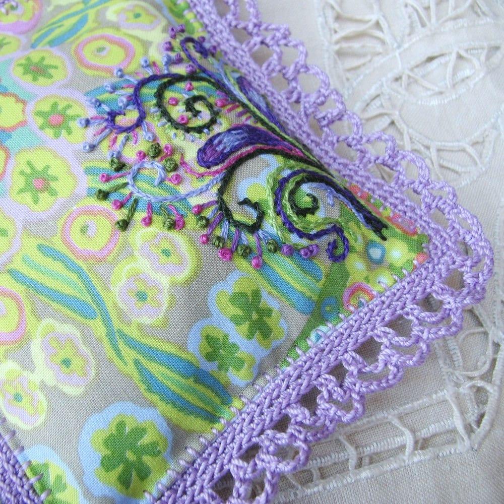 Purple Lavender Sachet, embroidered, crochet lace edging - windyriver