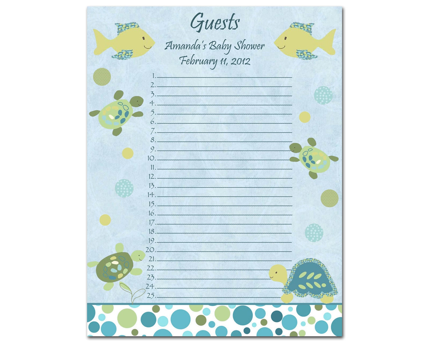 baby shower guest list
