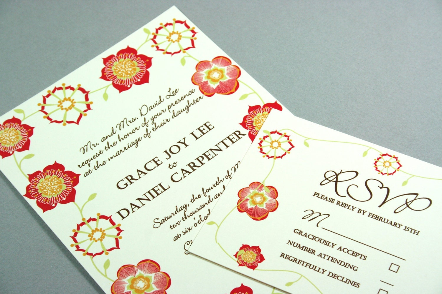 Red Flower Rustic Wedding Invitation or customize the colors for no extra
