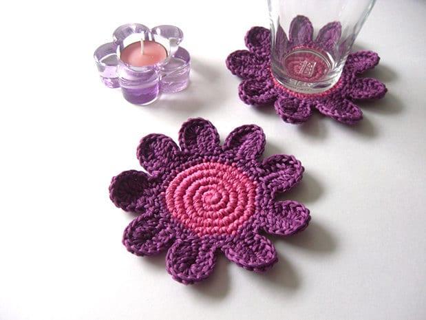 Flores Coaster Rosa Chá Drink Pétala de Rosa Púrpura Bebidas Colecção Primavera Garden Crochet
