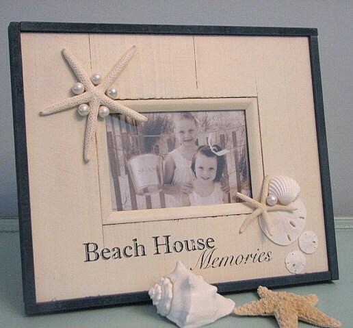 Shell Frame - Пляж Декор Seashell Frame ш Starfish & ежей на Barnwood