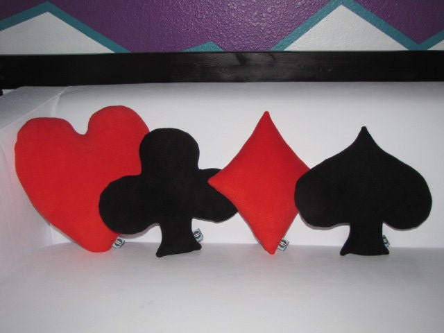 Playing Card Suits Pillows Set of 4 Geek Chic by freakyfleece