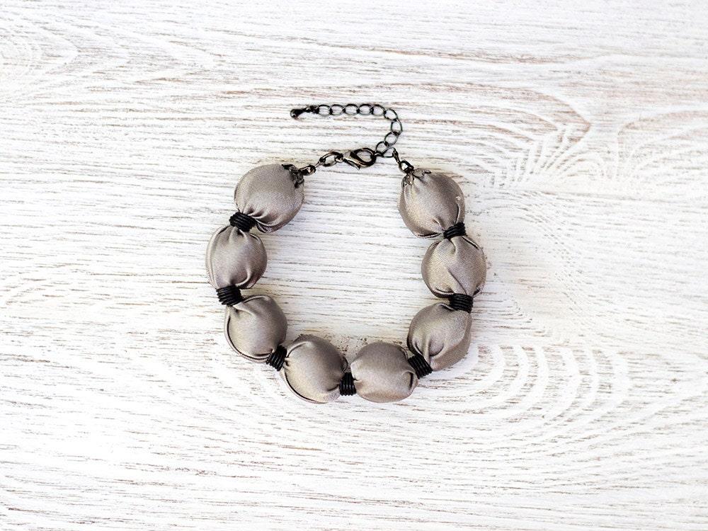 Grey Fabric bead Bracelet - katrinshine