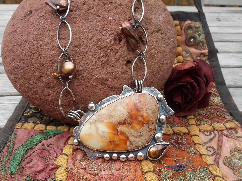 Orange Jasper and Chocolate Freshwater Pearl Necklace