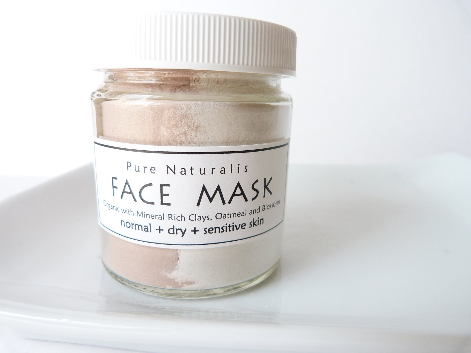 Face Mask, Natural with Organic Botanicals and Clays, Normal to Dry and Sensitive Skin, Vegan, Unscented,118 ml (4 oz.)