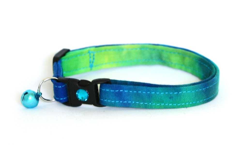 Safety Cat Collar - Blue and Green Tie Dye - Breakaway Cat Collar - Pugs2Persians