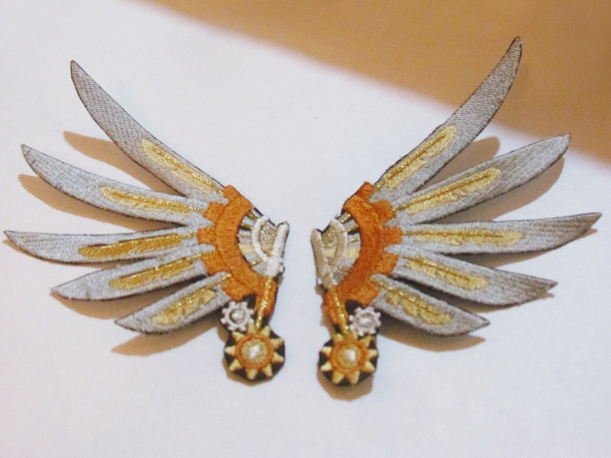 Embroidered Captain's Steampunk Wing Clips - Silver - skydogs