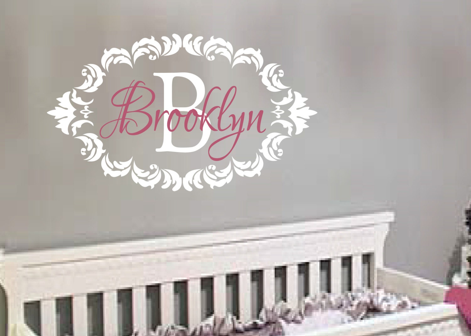 "Damask Frame Shabby Chic Vinyl Monogram Wall Art Nursery Girl 21"" x 36"""