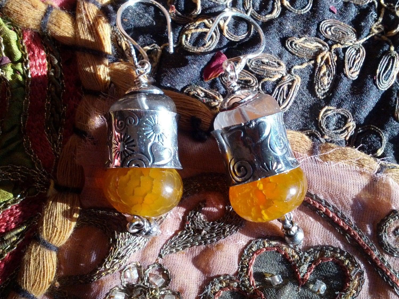 Quartz and Fire Agate Bazaar Dangle Earrings
