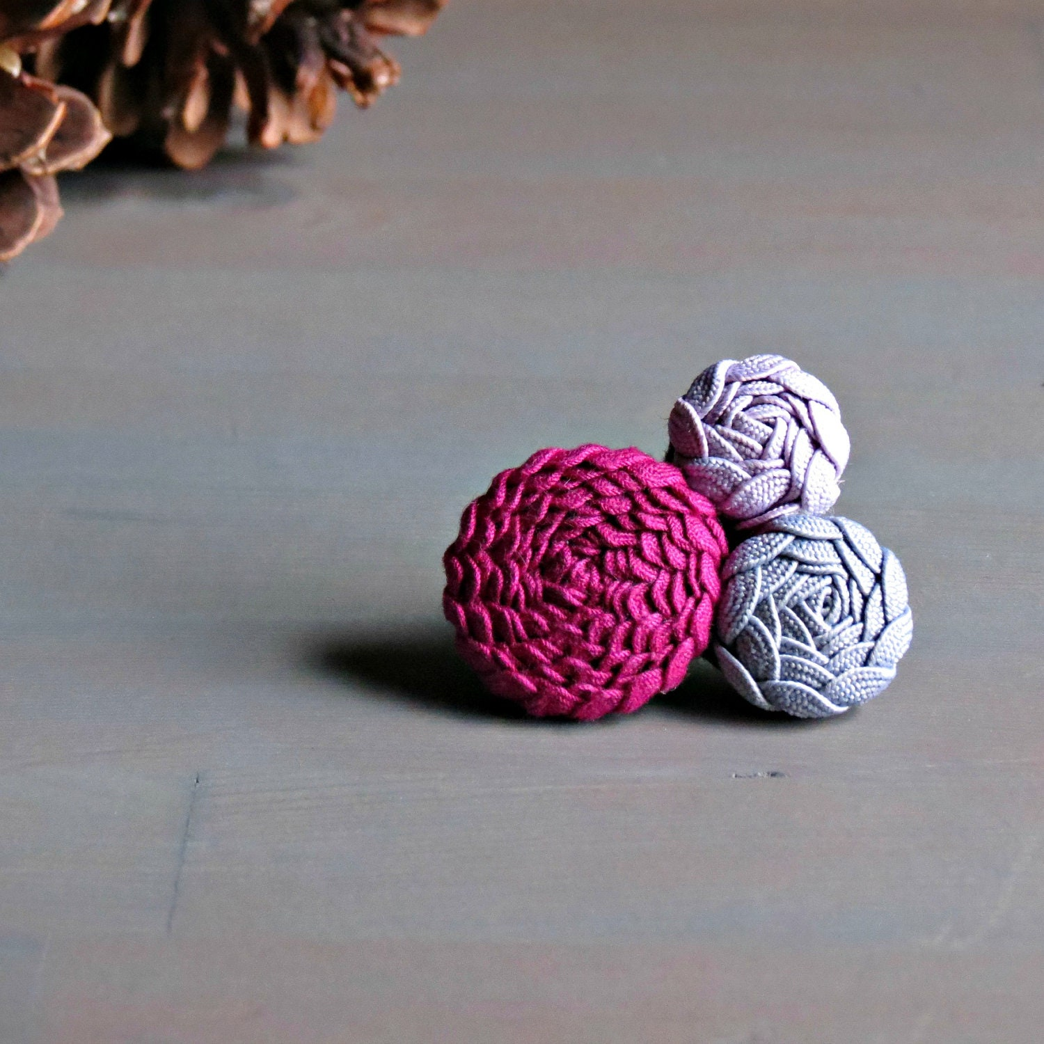 Fuschia, Grey and Purple Brooch Pin . Gifts for Her . by ponyupdesigns - ponyupdesigns