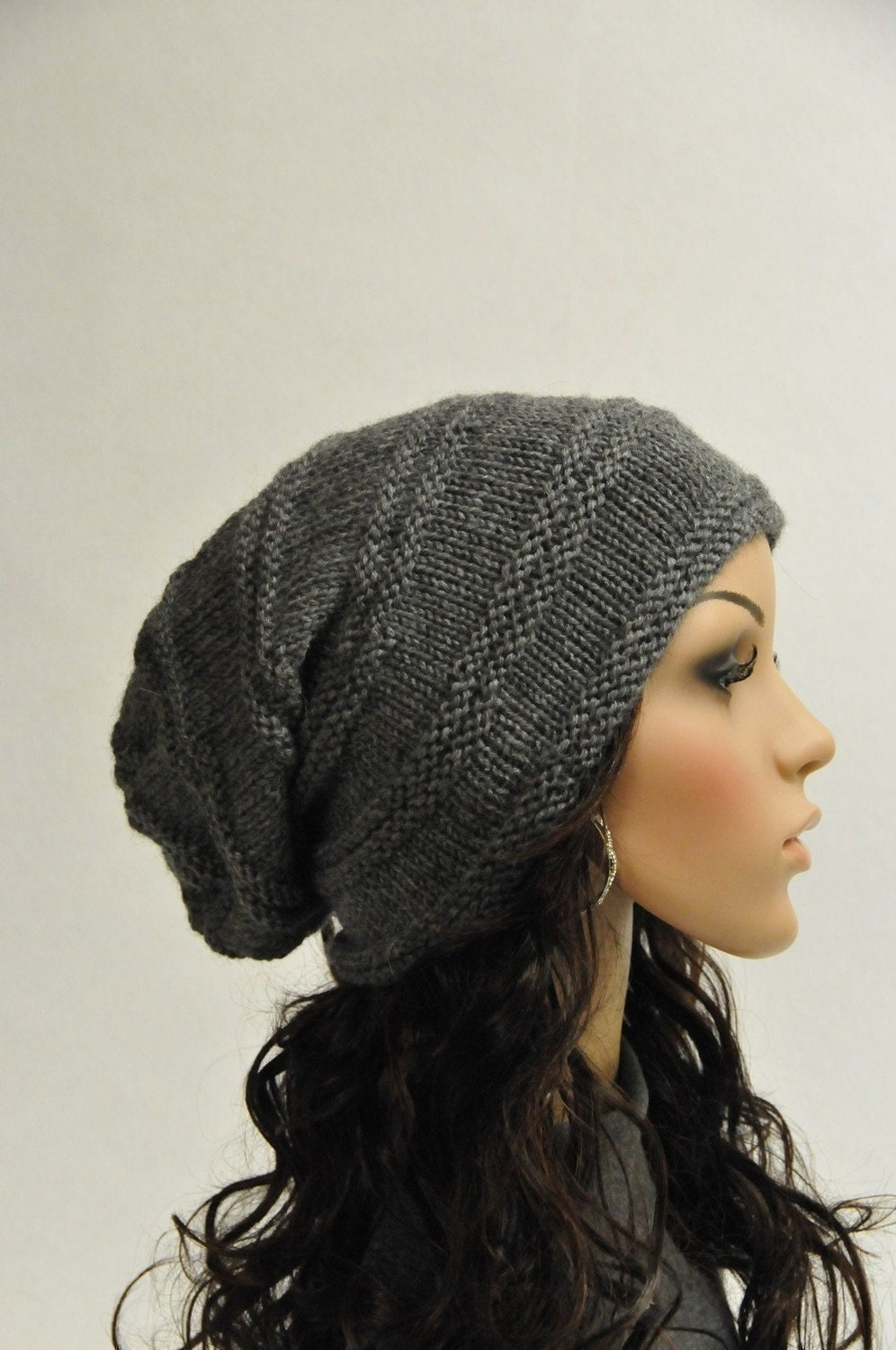 Hand knit hat - Chunky charcoal wool hat, slouchy hat