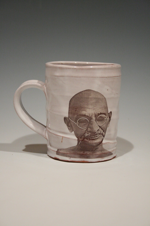 Handmade mug featuring Gandhi - rothshank